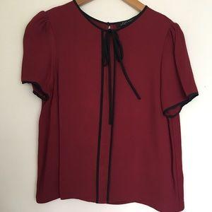 Zara Women's Tie Neck Blouse Short Sleeves Medium